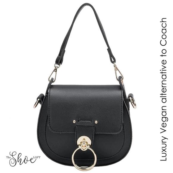 Melie Bianco Handbags - Ariel Black Luxury Vegan Leather Shoulder Bag